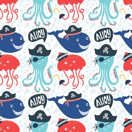 pirate octopus pattern vector illustration
