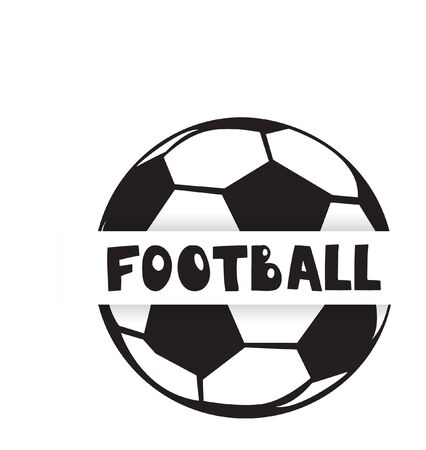 Football or soccer ball logo design. Vector icon in black and white for sporting emblems, mascot design Vettoriali