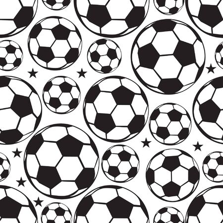 Seamless football or soccer ball pattern. Sport background.
