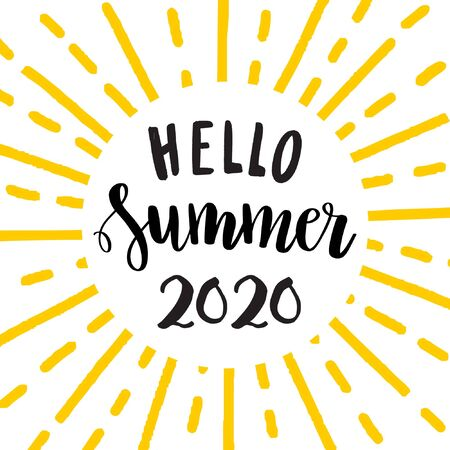 Hello Summer 2020. Hand drawn black lettering phrase. Inscription quote and yellow sun rays frame. Vettoriali