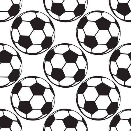 Seamless football or soccer ball pattern. Sport background. Vector illustration for clothing textile, scrapbooking Vettoriali
