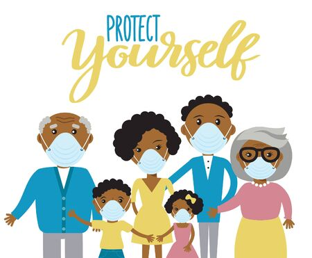 Family wearing protective Medical mask for prevent virus. Dad Mom Daughter Son Grandmother and Grandfather on white background. Coronavirus Protect yourself social media design.