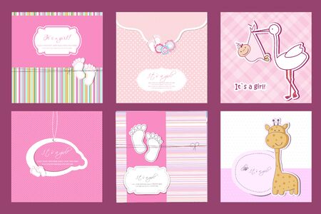 Baby shower set. Cute invitation cards for boy baby shower party. Vector collection on white and blue colors.