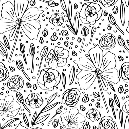 Doodle linear vector pattern, abstract leaves,flowers and plants. Floral graphic clean design for fabric, event, wallpaper, coloring book. Black and white. Vettoriali