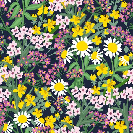 Colorful and stylish small booming floral and meadow flowers seamless pattern.