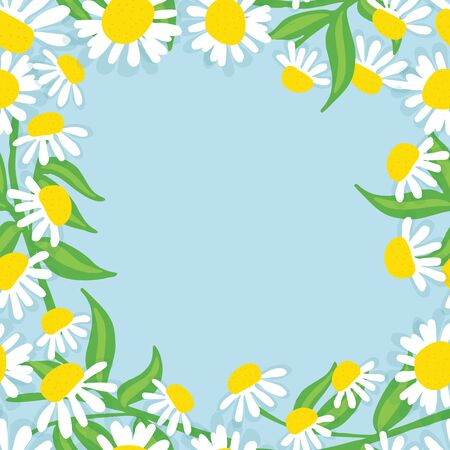 Hand drawn Chamomile flowers wreath. Spring summer decor frame. Vector illustration. Design element for invitations, greeting cards, cosmetic and other.
