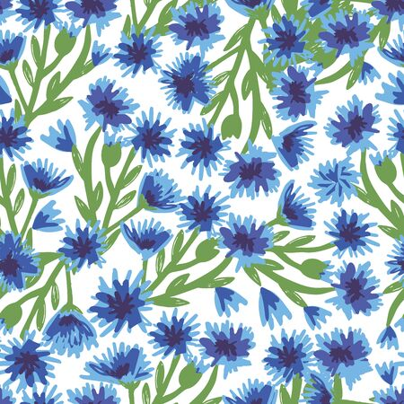 Seamless pattern with bright blue cornflowers. Suitable for fabric, t-shirts, bed linen, packaging, napkins, postcards, backgrounds, knitwear, textiles. Vettoriali