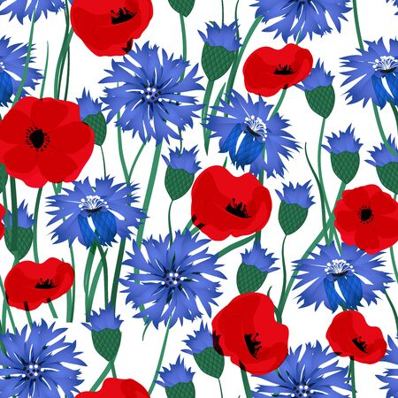 Seamless vector pattern with cornflowers and poppy. Hand drawn ornament with blue wildflower. Perfect for greetings, invitations, manufacture wrapping paper, textile, web design.