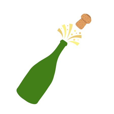 Champagne bottle explosion. Hand drawn vector illustration isolated on white.