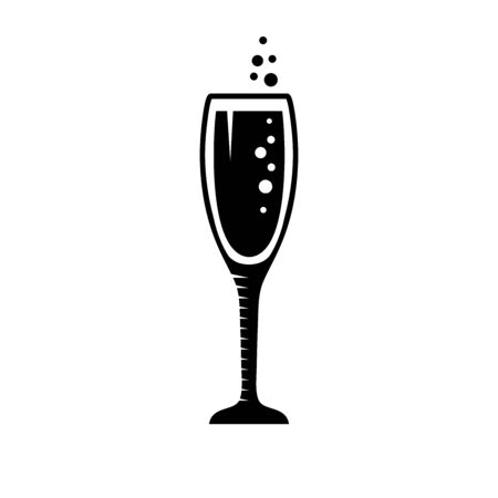 Glass of champagne sign icon. Sparkling wine with bubbles.