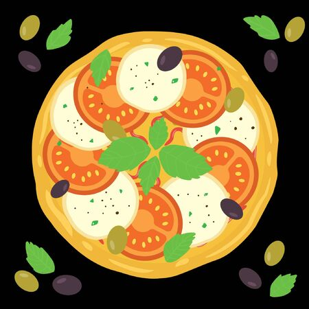 Margarita pizza. Italian whole pizza with tomato and mozzarella. Vector illustration