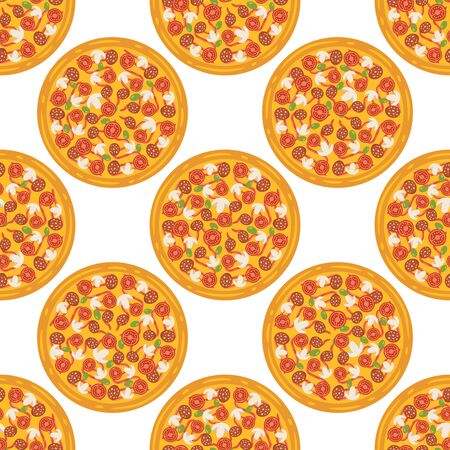 Hand drawn tasty pizza circles vector seamless pattern. Modern stylish repeating fast food service elements background. Isolated vector illustration on black background. Vettoriali