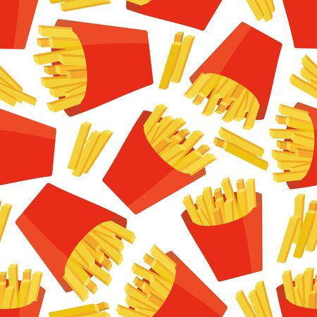 Seamless pattern with french fries . Vector illustration.