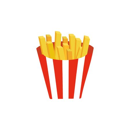 French Fries in red and white striped paper Box. Fastfood vector Design