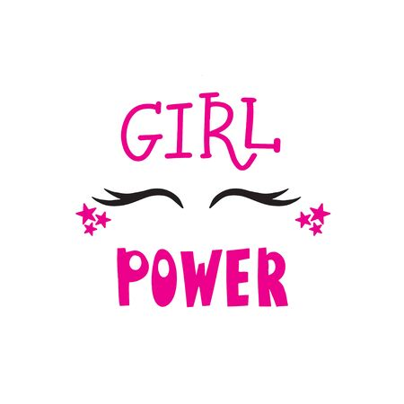 Girl power text, feminism slogan. Black inscription for t shirts, posters and wall art. Feminist sign handwritten with ink and brush. Ilustración de vector
