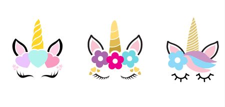 Hand drawn vector illustration of a cute funny unicorn heads with a set of different glasses, sunglasses, trendy hats and accessories. Isolated objects. Design concept for children.