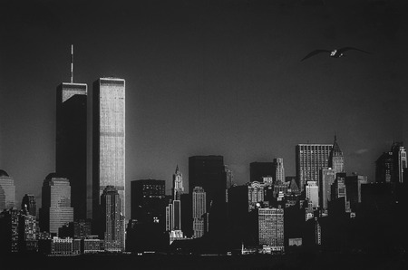 Skyline of New York with the Twin Towers Stock Photo