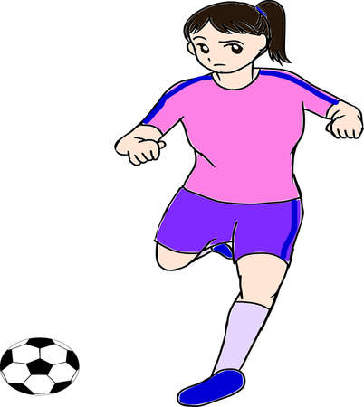 Female soccer player with the ball