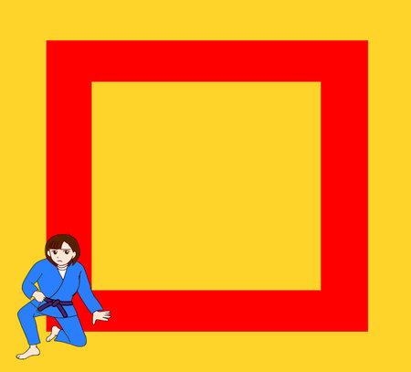 Judo tatami mats and female athletes Vektorové ilustrace