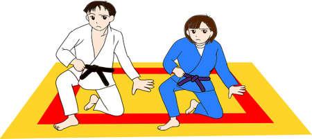 Men and women practicing judo Vektorové ilustrace