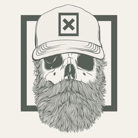 illustration of skull with a beard wearing a cap Stock Illustratie