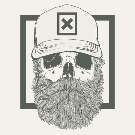 illustration of skull with a beard wearing a cap Çizim
