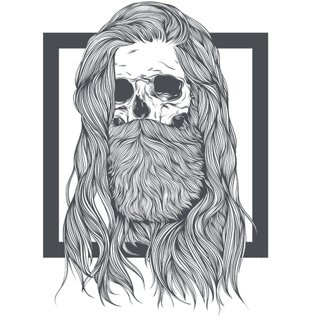 Bearded Skull Witch Long Hair. Vector illustratie