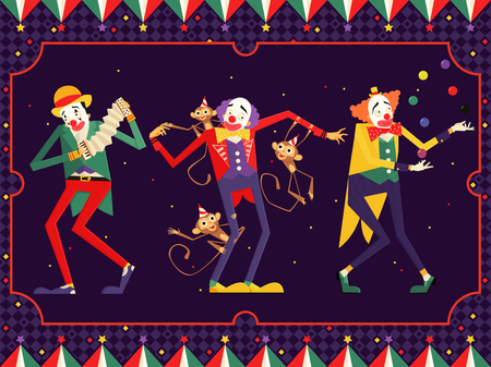 cartoon circus clown karakter. vectorillustratie Stock Illustratie