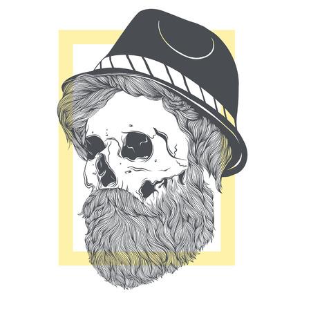 Stijlvolle schedel met een baard in een zomerhoed. Stock Illustratie