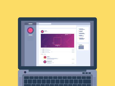 Laptop met sociaal netwerk