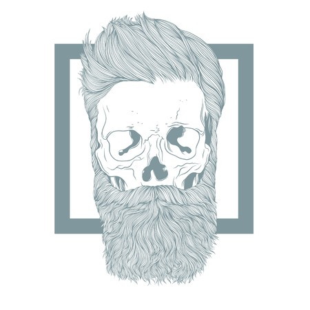 Bearded hipster skull with stylish hairstyle. 向量圖像