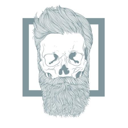Bebaarde hipster schedel met stijlvol kapsel.