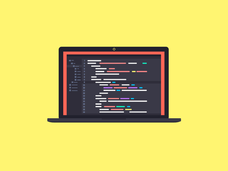 html: Code on the screen laptop