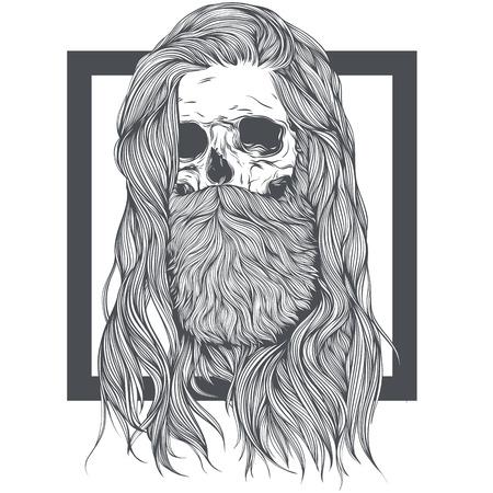 Bearded Skull Witch Long Hair.