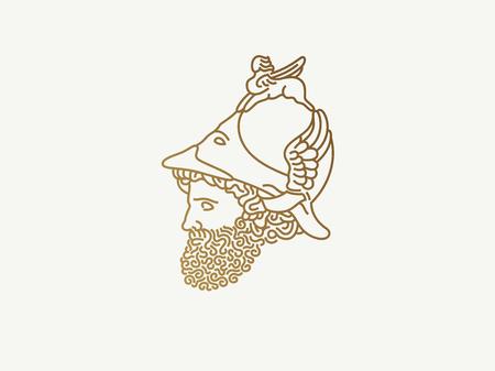 Grieks god van oorlogsembleem Stockfoto - 83613867