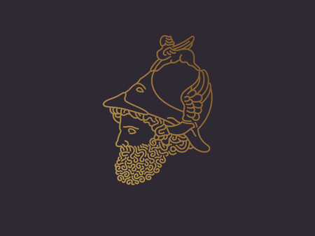 Grieks god van oorlogsembleem Stock Illustratie