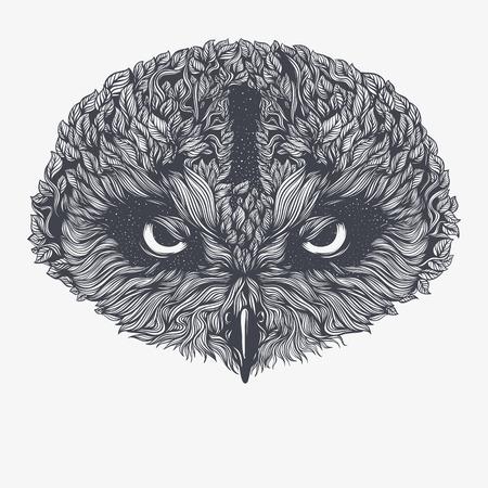 抽象的なフクロウ。ベクトル図 写真素材 - 83613869