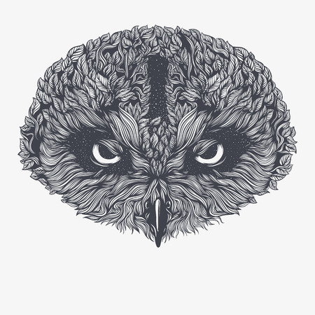 Hibou abstrait. Illustration vectorielle Banque d'images - 83613869