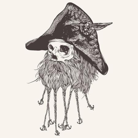 illustratie van piraatschedel met baard