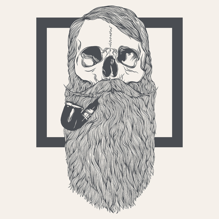 illustration of skull with beard
