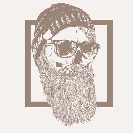 illustratie van schedel hipster baard