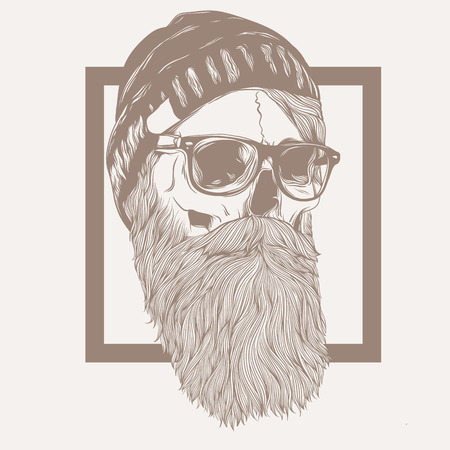 illustration of skull hipster beard