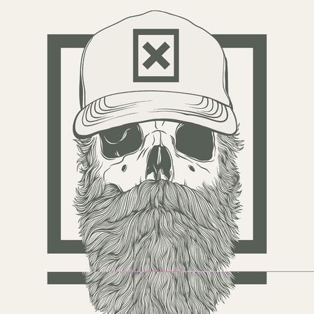 illustratie van de schedel met een baard draagt een pet