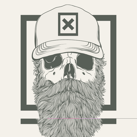illustration of skull with a beard wearing a cap 向量圖像
