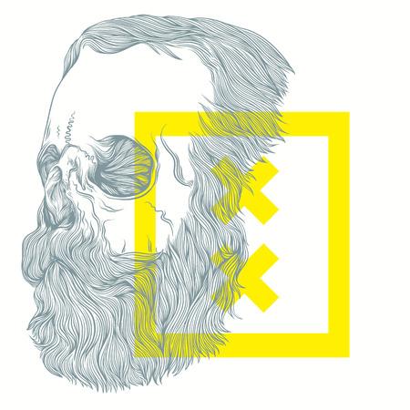 illustratie van een bebaarde schedel