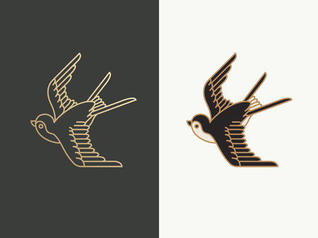zwaluw vogel logo Stock Illustratie
