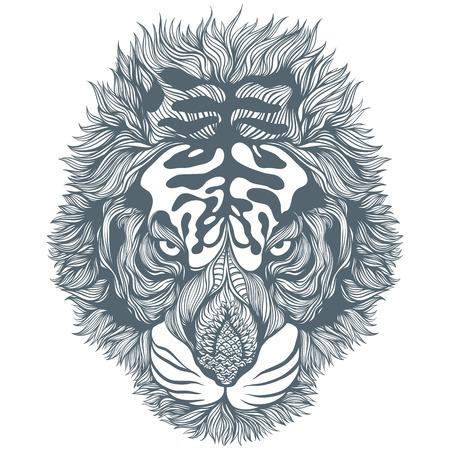 Hand Drawn Black Abstract Tiger Head. Vector Illustration