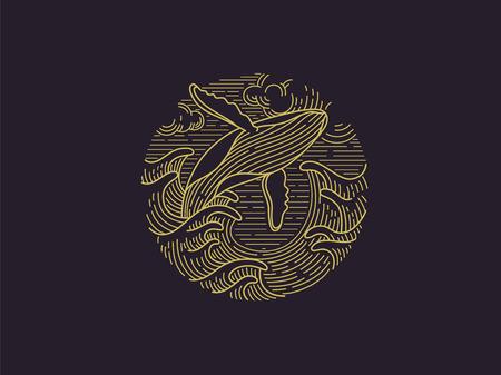 breaching humpback whale logo Иллюстрация
