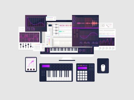Het maken van muziek werkruimte concept in platte ontwerp Stockfoto - 83613954