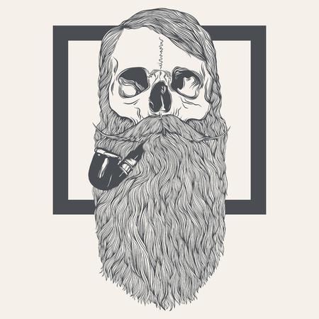 illustratie van de schedel met baard